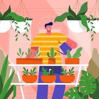 Homem ilustrado que jardina em casa