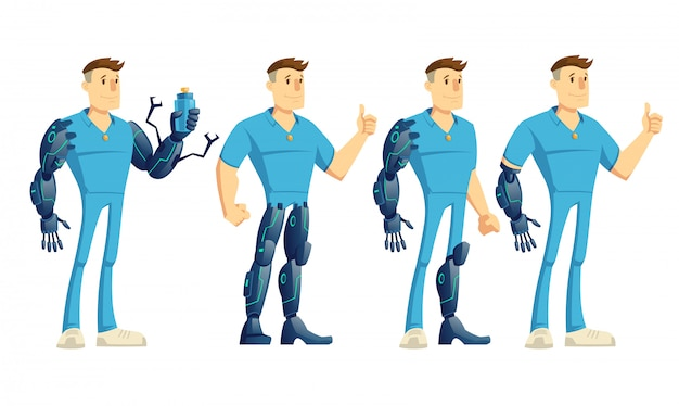 Homem incapacitado, com, mão, perna, robótico, prótese, mostrando, polegares cima, segurando, garrafa água, caricatura