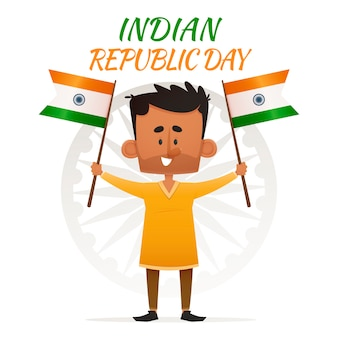 Homem indiano com bandeiras no ar