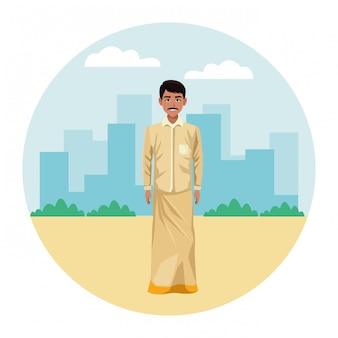 Homem indiano, vestindo roupas tradicionais hindus