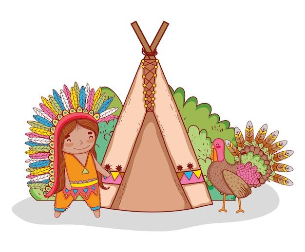 Homem indígena com a turquia e barraca de acampamento