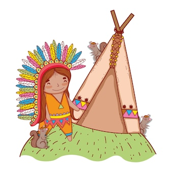 Homem indígena com esquilos e barraca de acampamento