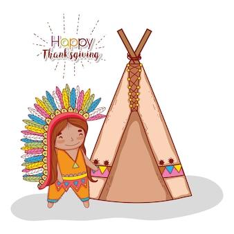 Homem indigenuos com penas e barraca de acampamento