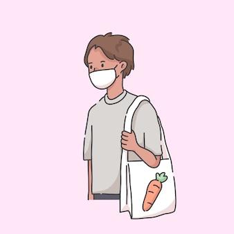 Homem indo ao supermercado usando ilustração de vírus de máscara