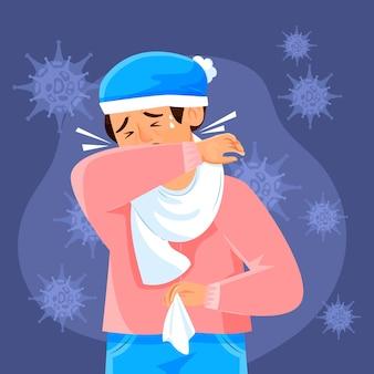 Homem infectado, tosse, ilustração