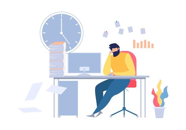 Homem infeliz dos desenhos animados, sentado no local de trabalho de mesa de escritório