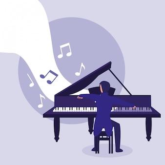 Homem, instrumento piano tocando