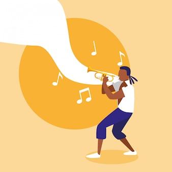 Homem, instrumento trompete