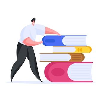 Homem inteligente com pilha de livros. ilustração plana