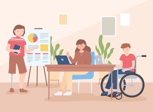Homem inválido em cadeira de rodas e homem com prótese na perna, trabalho de escritório encontra funcionária, ilustração de desenho animado de inclusão