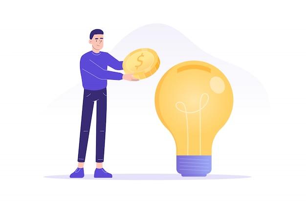 Homem investir dinheiro em grande ideia ou negócio startup