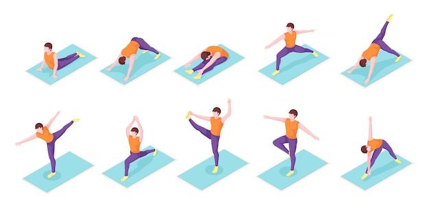 Homem ioga posa exercício na esteira de ioga ícones isométricos menino homem equilíbrio corporal e esporte de alongamento