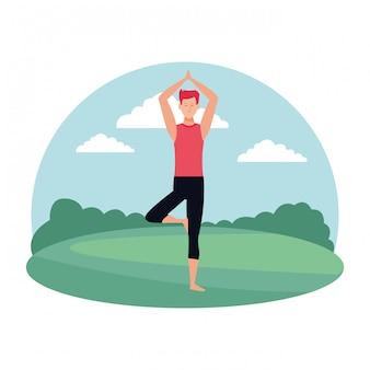 Homem, ioga posa