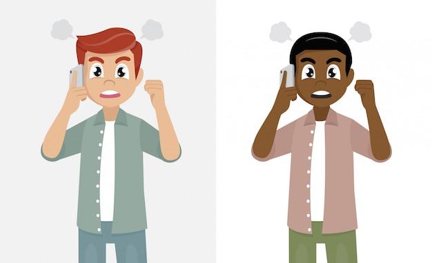 Homem irritado, gritando ou gritando na ilustração de chamada