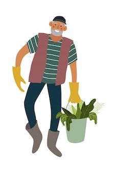 Homem isolado carregando balde com legumes.