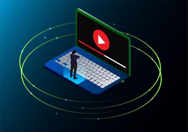 Homem isométrico assistir tutoriais de vídeo on-line