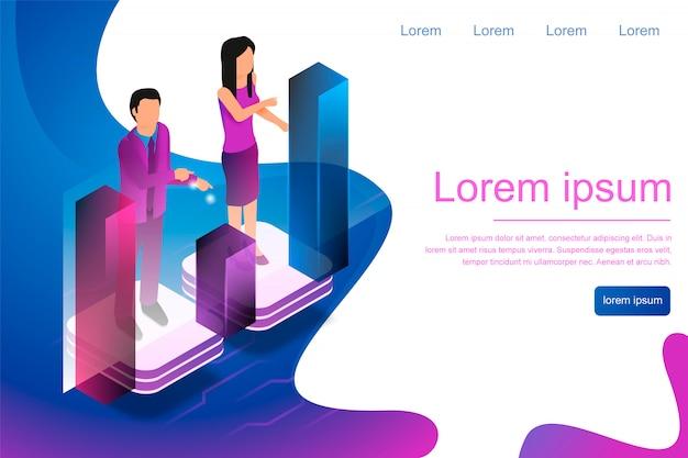 Homem isométrico e mulher envolvida em analítica on-line