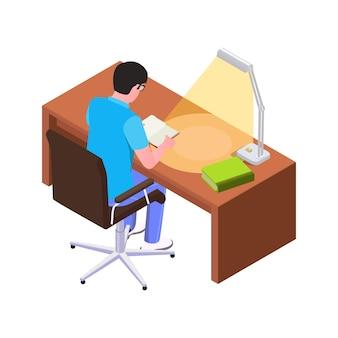 Homem isométrico lendo livro na mesa com lâmpada 3d