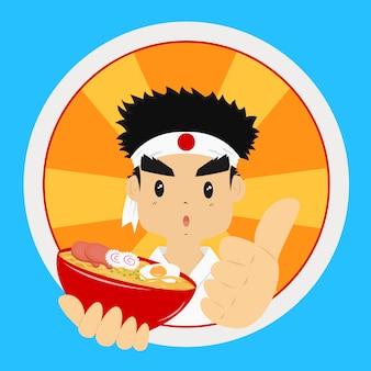 Homem japonês segurando uma tigela de macarrão ramen, com os polegares.
