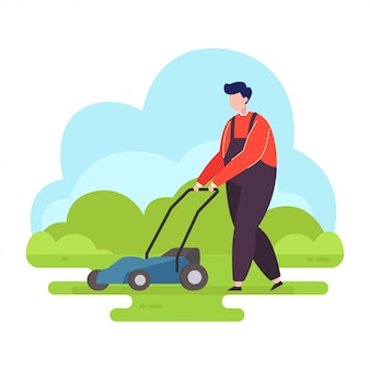 Homem jardineiro com cortador de grama