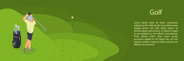 Homem joga golfe conceito bandeira, estilo isométrico