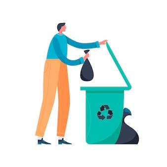 Homem joga lixo na lata de lixo em design plano