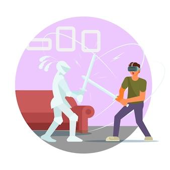 Homem jogador com óculos vr lutando com ilustração de cavaleiro