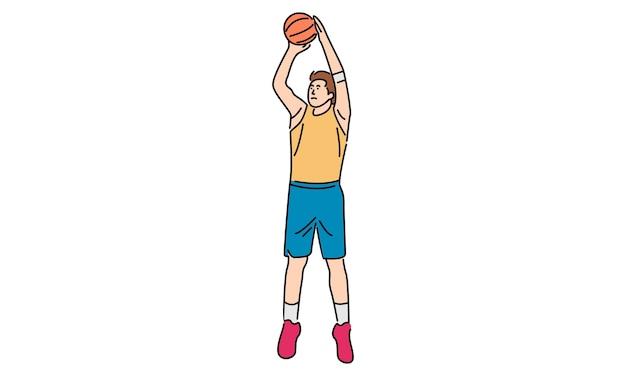 Homem jogando basquete isolado no branco