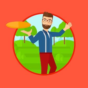 Homem jogando disco voador.