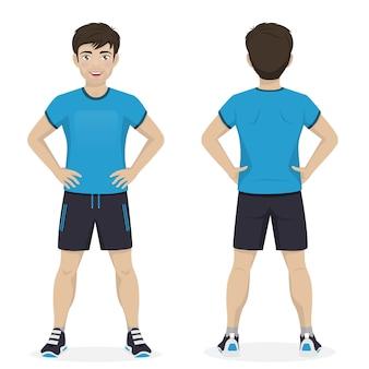Homem jogando esporte com sportswear azul e preto