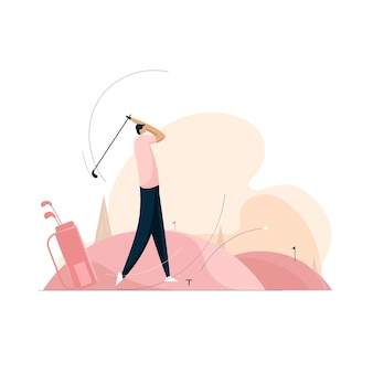 Homem jogando golfe, conceito de atingir metas
