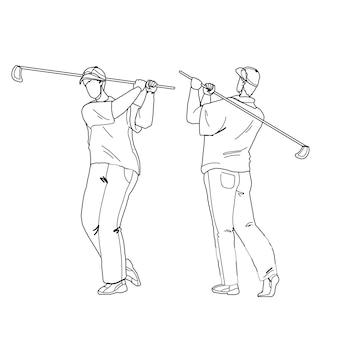 Homem jogando golfe e rebatendo a bola com o taco