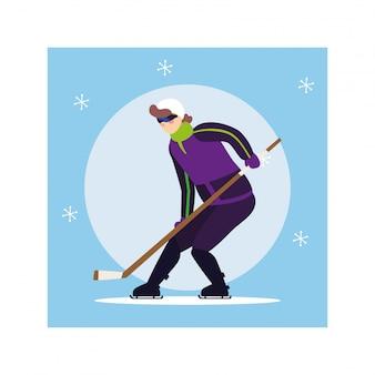 Homem jogando hóquei, jogador de hóquei com taco de hóquei, disco de hóquei no gelo