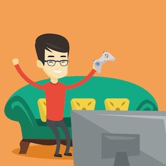 Homem jogando ilustração de videogame.