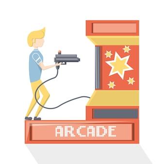 Homem jogando no ícone de máquina de arcade de tiro