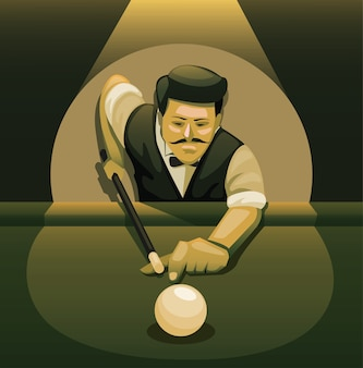Homem jogando sinuca. jogador profissional de bilhar pose conceito de bola de tiro na ilustração cartoon noir