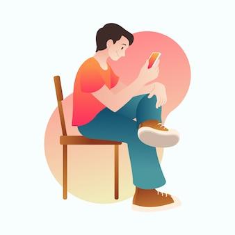 Homem jogando smartphone ilustração