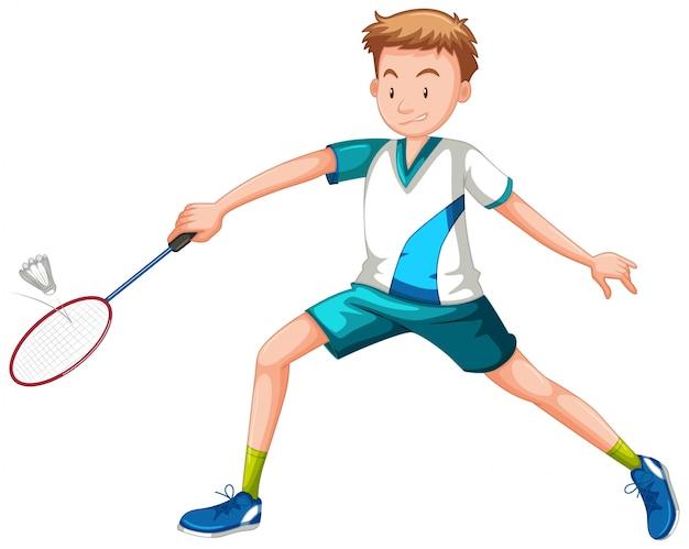 Homem, jogando tênis