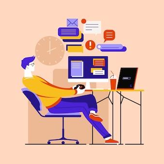 Homem jogando videogame em vez de trabalhar