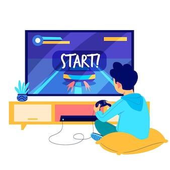 Homem jogando videogame ilustração