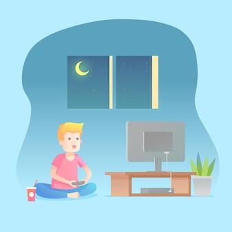 Homem jogando videogame no sofá durante a noite