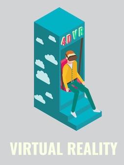 Homem jogando vr arcade jogo vetorial ilustração isométrica jogo clube atrações atividades divertidas entreter ...