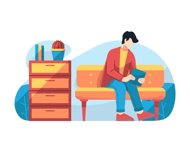 Homem, jogo, tabuleta, em, sala de espera, vetorial, ilustração