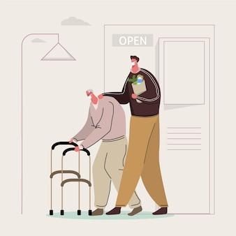 Homem jovem, ajudando, pessoa idosa