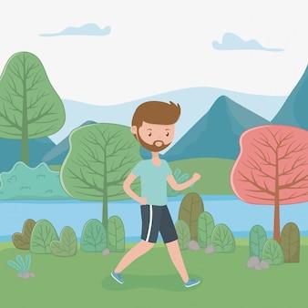 Homem jovem, andar, em, a, paisagem