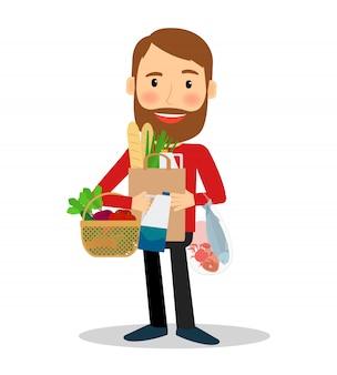 Homem jovem, com, alimento, saco