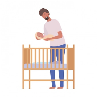 Homem jovem, com, bebê recém-nascido