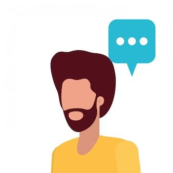 Homem jovem, com, fala, bolha, avatar, personagem