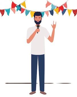 Homem jovem, com, microfone