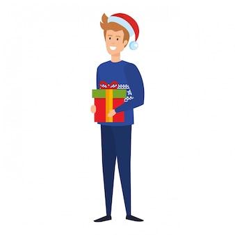 Homem jovem, com, natal, roupas, e, presente